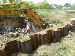 Demolishing the former storehouse for chemicals